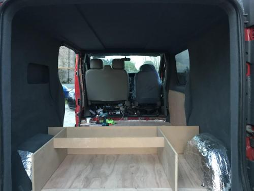 The interior with fabric lining complete