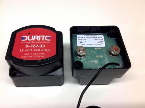 Front and rear view of the split charge relay